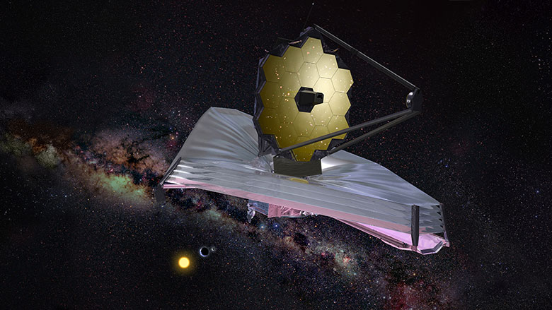 Artist Impression of the James Webb Space Telescope floating in space